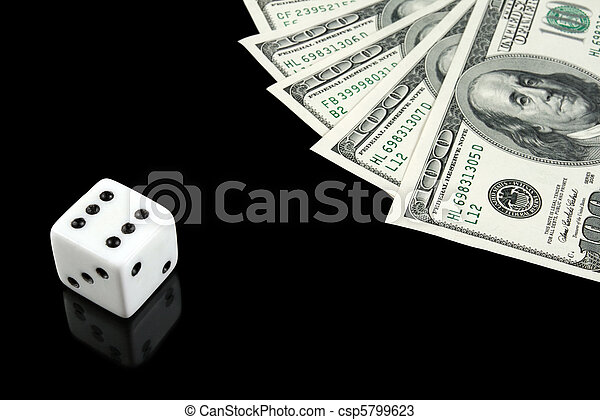 White dice and money on black background - csp5799623