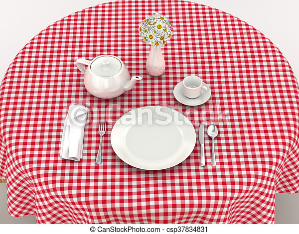 White Dinnerware For Serving Breakfast On The Red Tablecloth. 3d Illustration  sc 1 st  Can Stock Photo & White dinnerware for serving breakfast on the red tablecloth. 3d ...