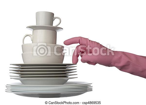 white dishes kitchen - csp4869535