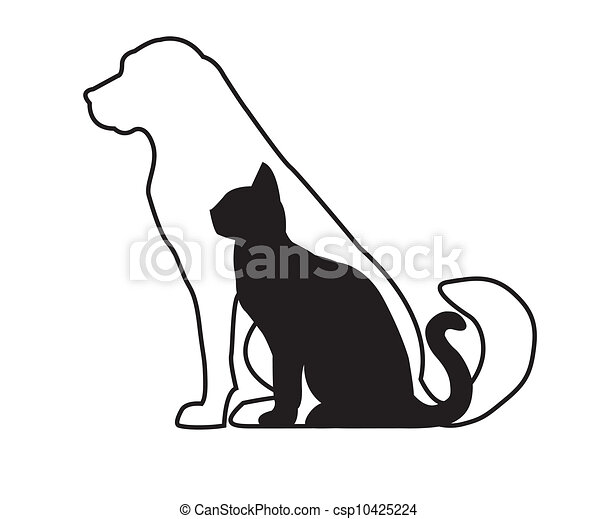 White dog and black cat - csp10425224