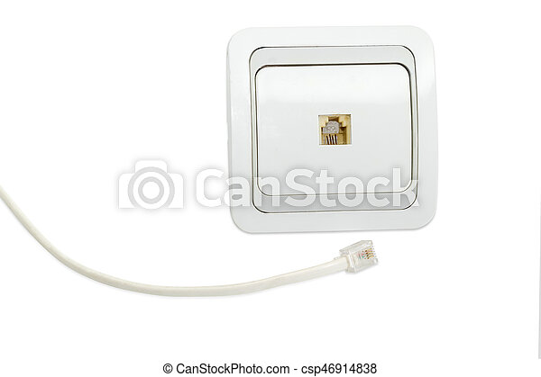 White domestic telephone socket and part of corresponding telephone cable - csp46914838