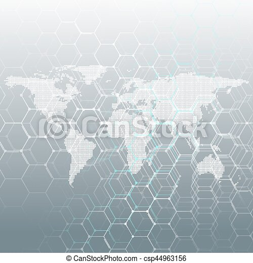 White Dotted World Map Connecting Lines And Dots On Gray Color