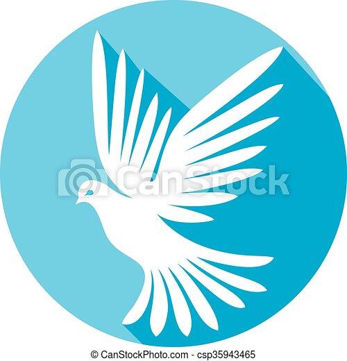 white dove flat icon - csp35943465