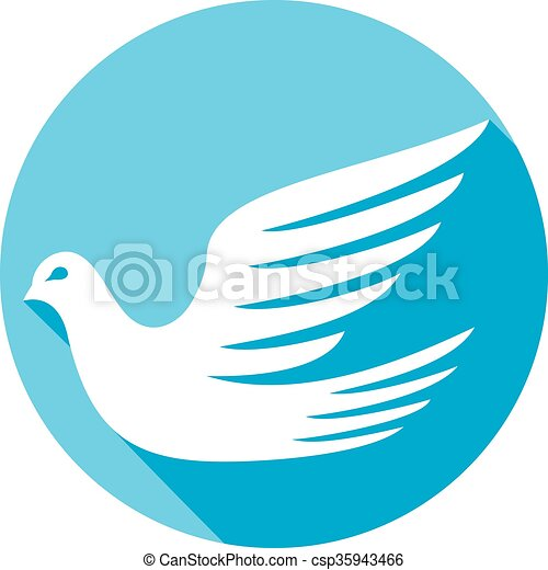 white dove flat icon - csp35943466