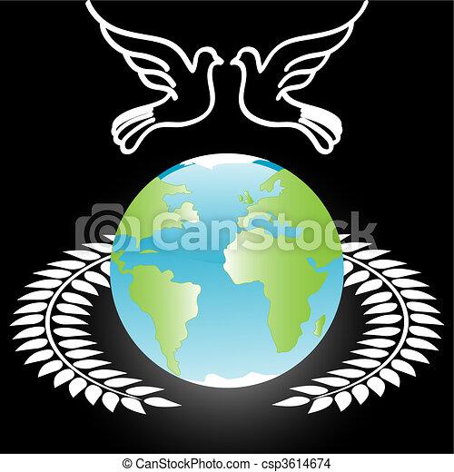 White Dove On Globe - csp3614674