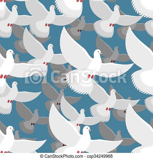 White Dove Seamless Pattern Flock Of White Doves In Blue Sky