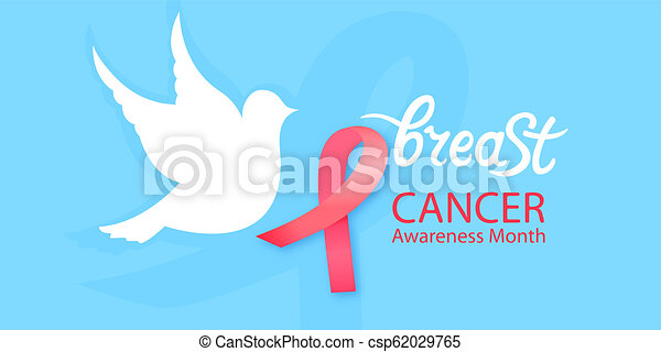 White dove with a pink ribbon. National Cancer Awareness Month concept - csp62029765
