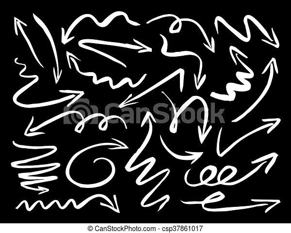 White Drawn Arrows on Black Background. Vector Illustration. - csp37861017