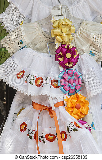 White Dresses and colored ribbons - csp26358103