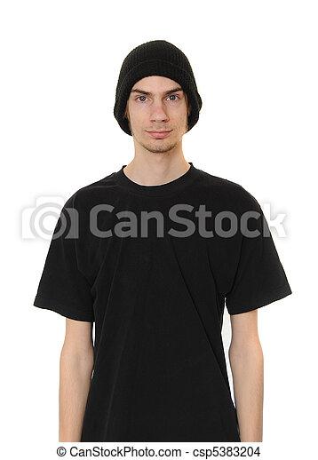 White Dude Wearing Black Beanie Hat - csp5383204