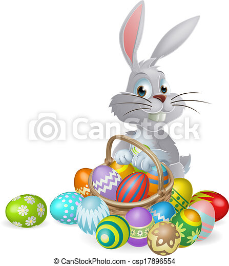 White Easter bunny and chocolate eg - csp17896554