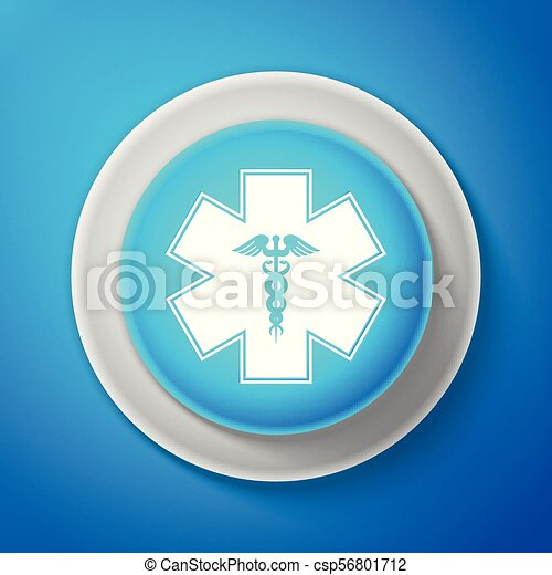 White Emergency Star Medical Symbol Caduceus Snake With Stick Icon