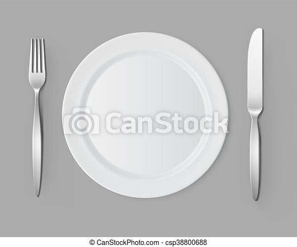 White Empty Flat Round Plate with Fork Knife Table Setting - csp38800688  sc 1 st  Can Stock Photo & White empty flat round plate with fork knife table setting. Vector ...