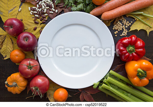 White empty plate and hindu vegan diet food top view - csp52019522