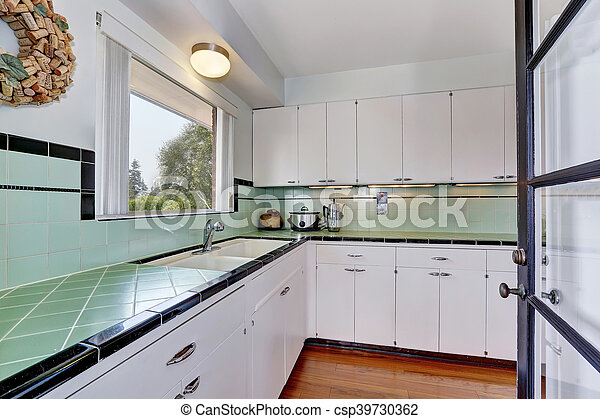 White Empty Simple Old Kitchen In American House