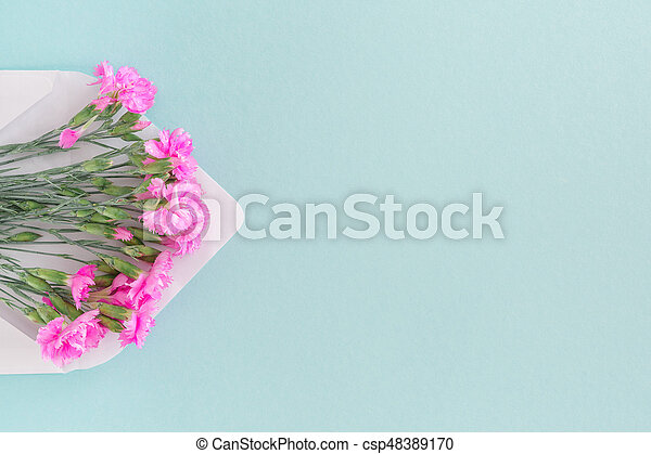 White envelope with pink flowers on blue background mail picture white envelope with pink flowers on blue background mail for you csp48389170 mightylinksfo