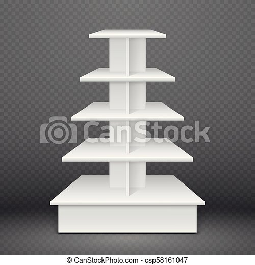 Exhibition Stand Free D Model : White exhibition stand with square shelves retail advertising