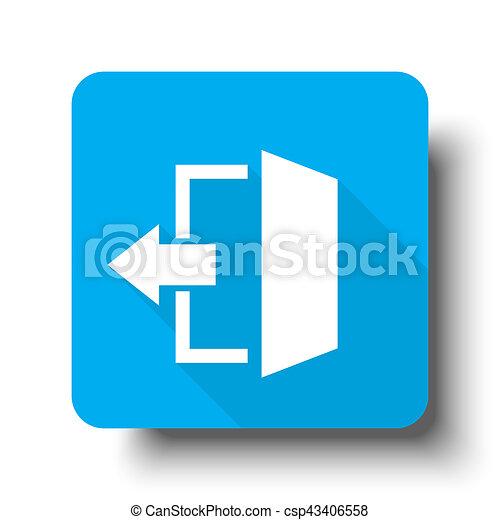 White Exit icon on blue web button - csp43406558