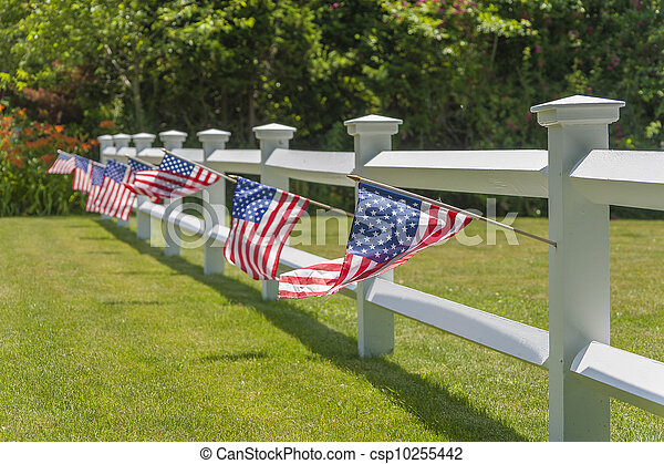 White fench with American flags - csp10255442