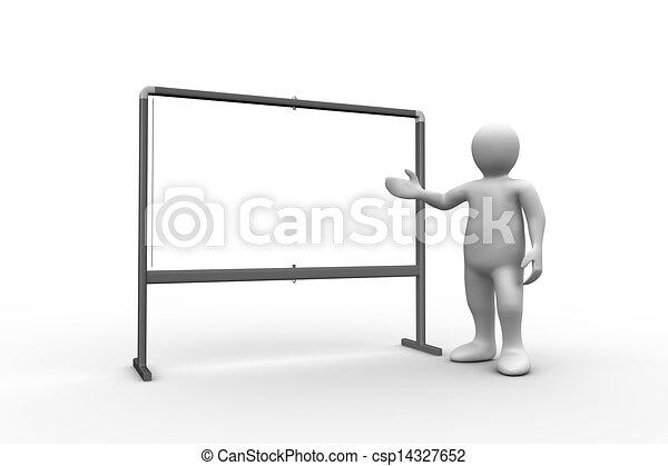 white figure pointing to whiteboard on white background