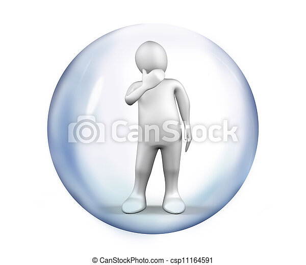 White Figure standing at a bubble - csp11164591
