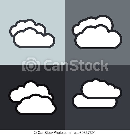 White flat cloud icons on color background - csp39387891