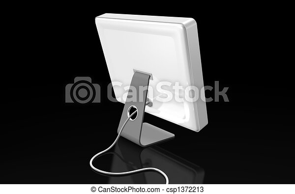 white flat computer on black background - csp1372213