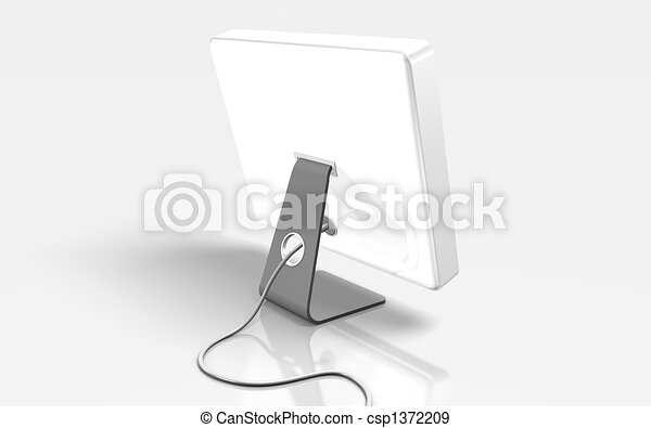 white flat computer on white background - csp1372209