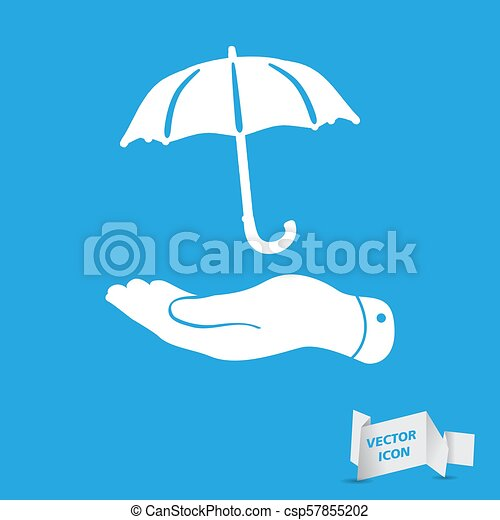 white flat hand with umbrella icon on a blue background - csp57855202