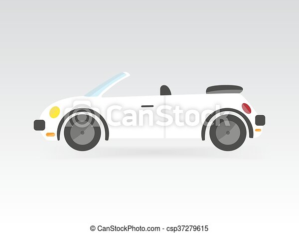 white flat style isolated convertible race sport car vector illustration transport auto icon - csp37279615