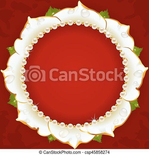 White Floral Circle Frame - csp45858274