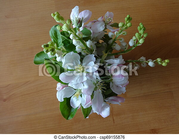 White Flowers in a Vase View from Above - csp69155876