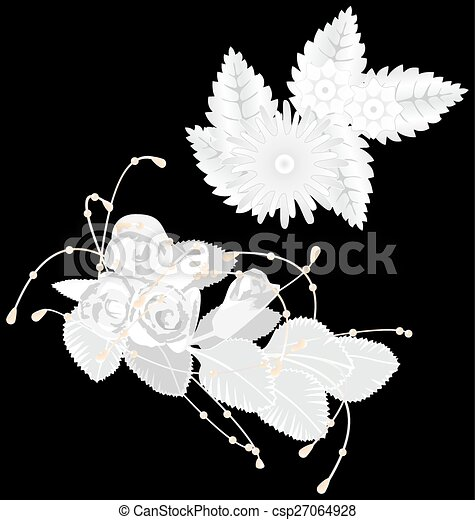 White flowers isolated on black - csp27064928