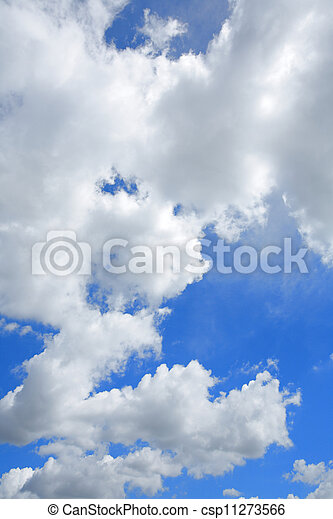 white fluffy clouds in the blue sky - csp11273566