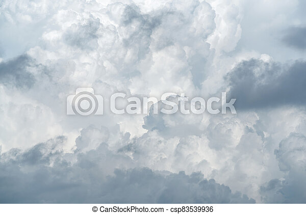 White fluffy clouds on cloudy sky. Soft touch feeling like cotton. White puffy cloudscape. Beauty in nature. Close-up white clouds texture background. Pure nature. White background for minimal pattern - csp83539936