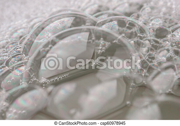 white foam texture abstract background closeup - csp60978945