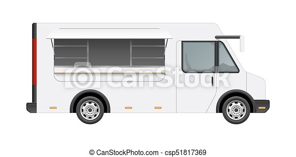 White Food Truck Vector Mock Up Template Side View Of Realistic Modern Delivery Service Vehicle Isolated On Background Can Be Used For Branding