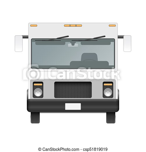 White Food Truck Vector Mock Up Template Front View Of
