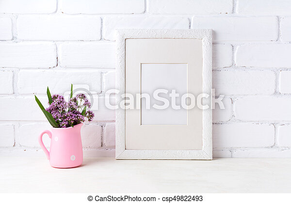 White Frame Mockup With Purple Flowers In Pink Rustic Pitcher White Picture Frame With Mat Mockup With Purple Field Flowers Canstock