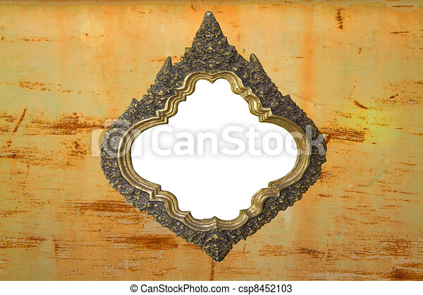 white frame on the old wall - csp8452103