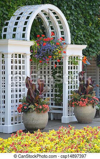 Beautiful White Garden Archway   Csp14897397