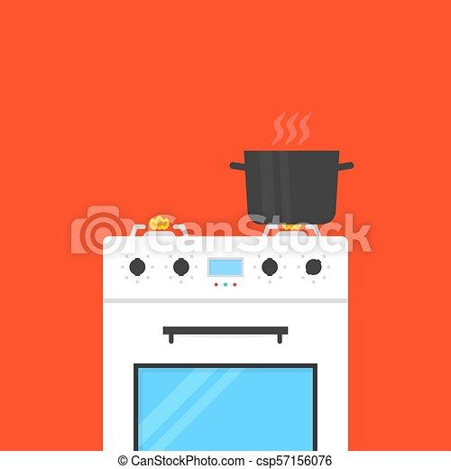 white gas stove with boiling water in pan - csp57156076