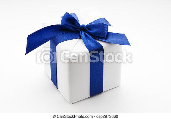 white gift box with blue ribbon - csp2973660