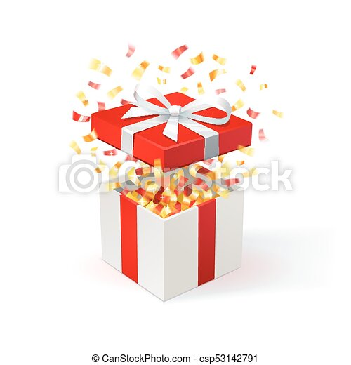 White Gift Box With Red Cover And Gold Confetti Open Festive Background Free Delivery Bargain Special Offer Vector Illustration