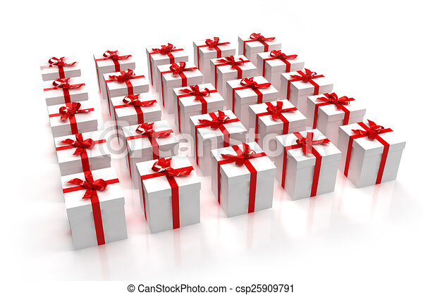 White gift boxes in a square - csp25909791