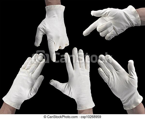 Mano de amor blanco en un fondo negro - csp10268959