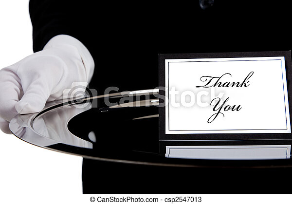 White gloved hand holding a silver tray - csp2547013