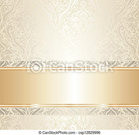 White Gold Vintage Wallpaper