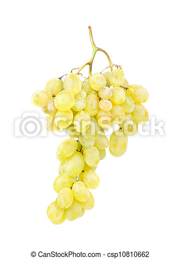 White grapes gsolated on white background - csp10810662