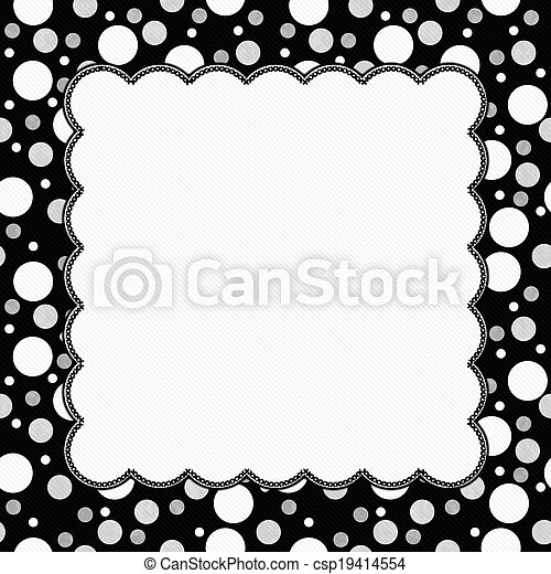 White, gray and black polka dots frame with embroidery background ...